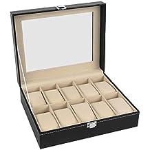 miayon reloj caja 10para hombre piel de color negro cristal de pantalla TOP joyería Caso Organizador