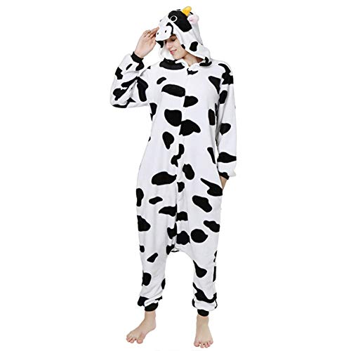 Milch Kuh Kostüm - Love Home Unisex Erwachsene Cartoon Tier Milch Kuh Pyjamas Nachtwäsche Mit Kapuze Cosplay Kostüm Anziehende Pyjama Erotische Kleidung,S