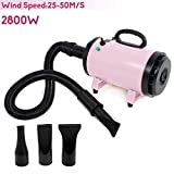 VOLKWELL 2800W Dog Cat Pet Grooming Force Dryer Salon Blow Hair Dryer Low noise Quick Draw Hairdryer Different 3 Nozzles Pet Hairdryer Professional Portable Machine Pink
