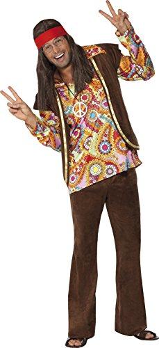 Smiffys, Herren Hippie Kostüm, Hemd, Hose und Weste, Größe: M, (Kostüm Hippie Hose)