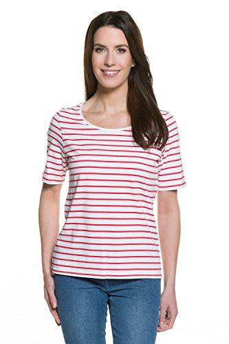 GINA LAURA Damen bis Größe 3XL | T-Shirt | Streifen-Oberteil, Ringel | Basic-Kurzarmshirt | Reine Baumwolle | Koralle S 709881 59-S (Baumwolle Reine - T-shirts S/s)