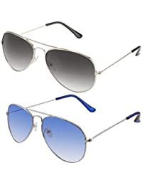 Sheomy Unisex Combo Pack Of Aviator Sunglasses For Girls And Boys - Mirrored Sunglasses ( Silver Ligth Blue -...