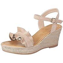 JiaMeng Moda Tacones de cuña Volantes Peep Toe Hebilla Correa Sandalias Atractivas Bombas Zapatos de Verano