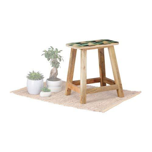 Native Home Hocker Holz, 2 in 1, Beistelltisch & Sitzhocker, mit Muster, massiv, modern, HxBxT: 45,5 x 42 x 26 cm, Natur