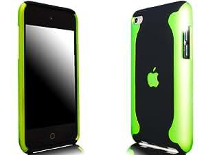 Novo iPod Touch 4, 4G Hard Case Flux Schwarz und Grün Hülle Taschen und Free Screen Guard