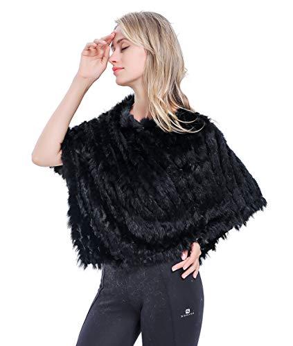 Meefur genuino pelliccia scialli caldo a maglia vera pelliccia di coniglio poncho accostare coperta mantellina inverno black