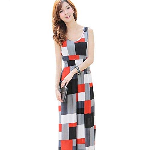 QIYUN.Z Geometrischen Quadrate Gedruckt aermelloses Sommerfrauen Lange Boehmischen Tunika Sommerkleid (Kleid Quadrate Geometrischen Langes)