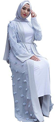 YI HENG MEI Damen Elegante Islamische Muslimische 3D Pom Poms Langarm Länge Maxi Abaya Abendkleid...