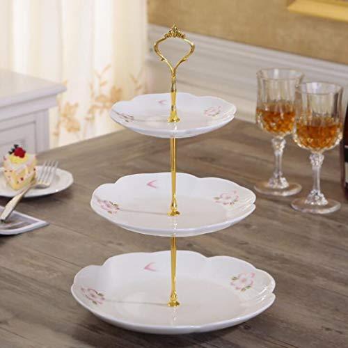 CHENGXINGF Tortenständer Dreischichtiger Tortenständer aus geprägter Keramik Dim Sum Fruit Candy Displayständer Tortendekoration Silber Standhöhe 38cm (Color : White2)