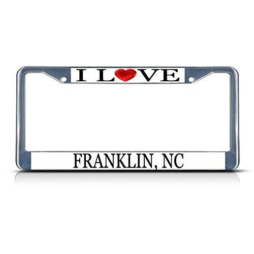 Nummernschild Rahmen I LOVE Herz Franklin NC Aluminium Metall Nummernschild Rahmen silber