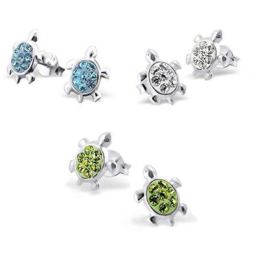 Packung mit 3 x Paar Ohrstecker Glaskristalle Schildkröte Sterlingsilber (blau, grün weiß &) (Teen Cute Paar)