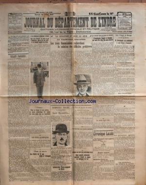 JOURNAL DU DEPARTEMENT DE L'INDRE du 19-07-1924 A LA VERRERIE OUVRIERE D'ALBI - L'INGENIEUR SPRINETTA FAIT LA GREVE DE LA FAIM - LE GENERAL WALOH - CONCESSEUR DU GENERAL NOLLET - UN JEUNE DOMESTIQUE - GASTON POMPIGNAC - COUPE LES 2 PIEDS DE SON PATRON M. RAFFY - LES JEUX OLYMPIQUES - UNE FILLETTE DE 12 ANS VIOLEE ET ETRANGLEE - MARIE-LOUISE BLANC - COLLABORATION FRANCO-ESPAGNOLE AU MAROC - LES EXPERTS - M. PARMENTIER - LE TOUR DU MONDE EN AVION - TOUJOURS SANS NOUVELLES ...