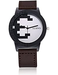 naivo Men's Quartz Stainless Steel and Gold Plated Watch, Color:Brown (Model: 1)