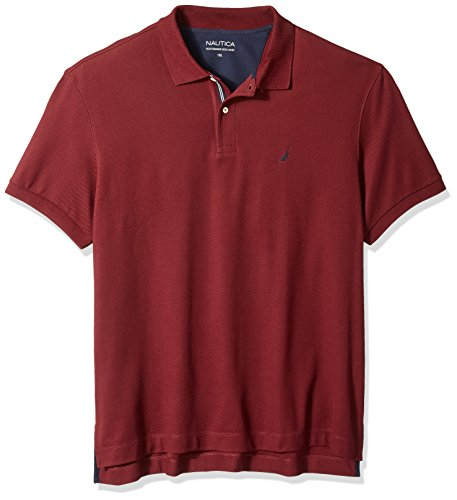 Nautica Men's Short Sleeve Solid Deck Polo Shirt, Royal Burgundy, 1X Big-Tall (Herren Tall Big Poloshirt)