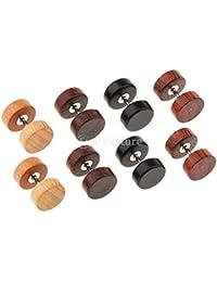 B Baosity 4 Pares De Madera Pendientes De Botón De Madera Tapones para Los Oídos Piercings