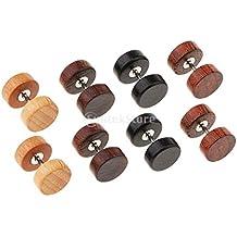 7f473142a1a7 B Baosity 4 Pares De Madera Pendientes De Botón De Madera Tapones para Los  Oídos Piercings
