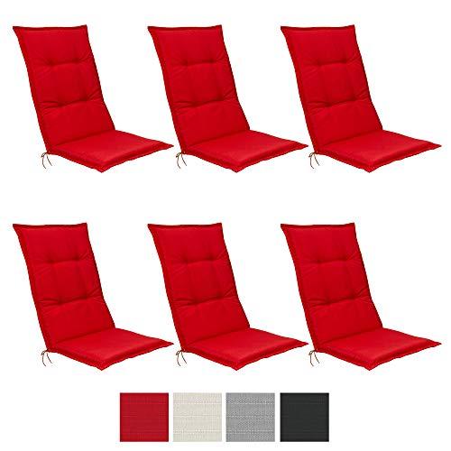 Beautissu 6er Set Hochlehner Auflagen Set Base HL 120x50x6cm Sitzkissen Rückenkissen Stuhlkissen für Gartenstühle Sitzpolster Rot