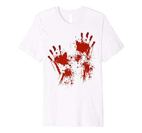 Halloween T-Shirt Blutige Hände Blutspritzer Kostüm Zombie