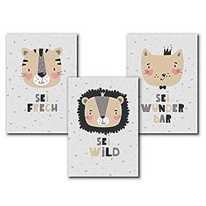 3er Set Tierbilder Kinder/Baby, Tier Bilder Kinderzimmer, Kunstdruck Kinderzimmer Poster A4 | ohne Bilderrahmen | Babyzimmer Poster Mädchen Junge