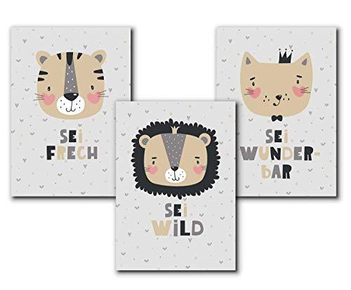 Set Tierbilder Kinder/Baby, Tier Bilder Kinderzimmer, Kunstdruck Babyzimmer Poster, ohne Bilderrahmen, Mädchen Junge