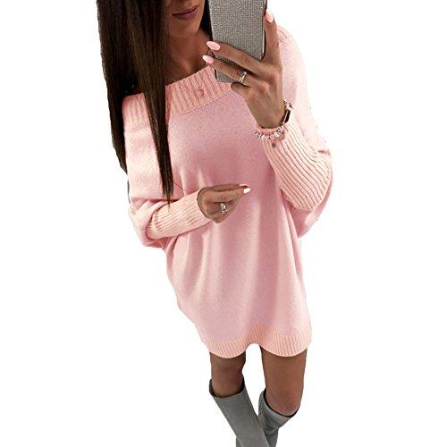 Juleya Damen Pullover Mini Kleider - Herbst und Winter Langarm Sweatshirt Jumper Oberteile Rundhals Pullover Tops Pulli Strickpullover (Pullover Kleider Herbst)