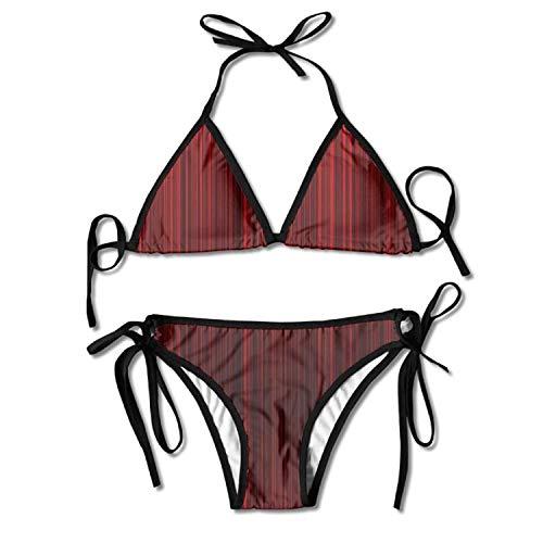 51d427e282a81 Pads bag Women's Red Black Thin Stripe Beautiful Biniki Swimwear Swimsuit  Bathing Beach Swimming Suit