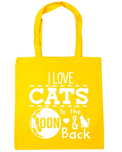 hippowarehouse I Love Katzen to the Moon and Back Tote Shopping Gym Beach Bag 42 cm 38 38, 10 Liter, gelb, One Size (Cheetoh Katzen)