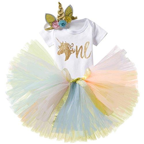 Girls Kostüm Baby Golden - TTYAOVO Baby Girl 1st Birthday 3er Sets mit Einhorn Stirnband & Romper & Röcke Größe 1 Jahre Rosa