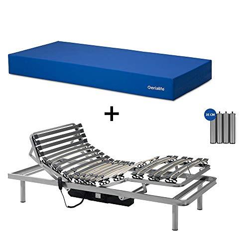 Gerialife® Pack Cama articulada con colchón Sanitario viscoelástico Impermeable (90x190)
