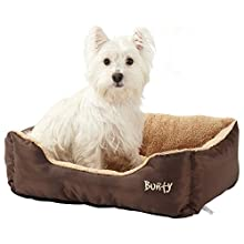 Deluxe Soft Washable Dog Pet Warm Basket Bed Cushion with Fleece Lining - Brown - Medium