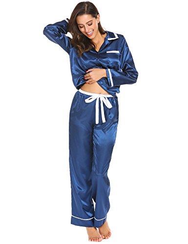 6fbefbe02ade3c ... ADOME Damen Satin Pyjama Lang Schlafanzug Zweiteiliger Hausanzug  Dunkelblau935 ...