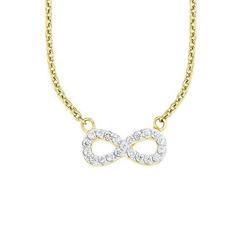 s.Oliver Damen-Kette 45 cm mit Anhänger Infinity Unendlichkeitszeichen 925 Sterling Silber gelbvergoldet Zirkonia weiß