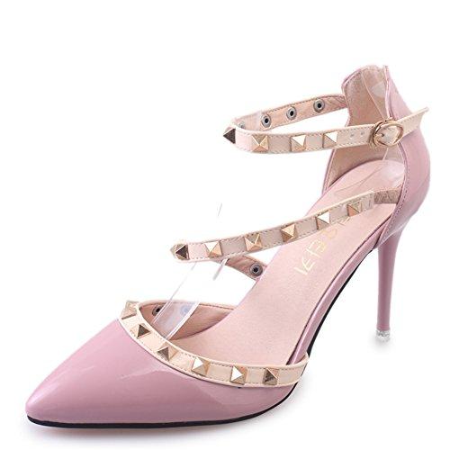 Europe à pointe rivet sandales/peu profonds pompes talon haut de cuir verni/Boucle de chaussures à talons C