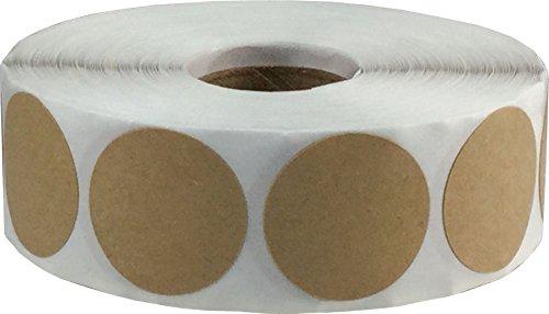 Marrón Kraft Circulo Punto Pegatinas, 25 mm 1 Pulgada Redondo, 500 Etiquetas en un Rollo