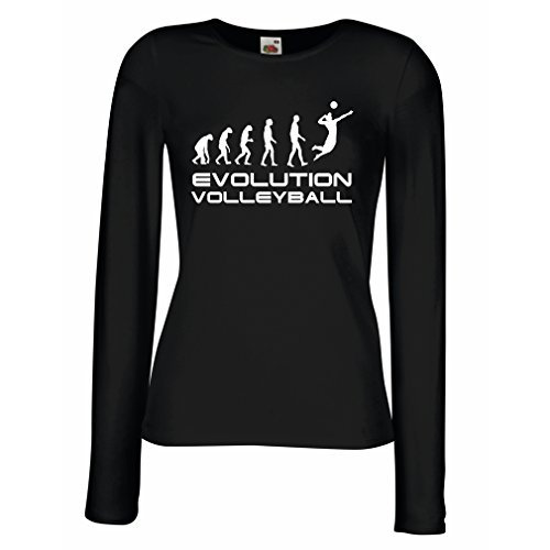 angen Ärmeln T-Shirt Evolution Volleyball - Indoor, Outdoor, Strand Vball Bekleidung (XX-Large Schwarz Weiß) (Die Geschichte Von Halloween Ghouls)