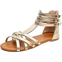 f6ce37df7 Logobeing Sandalias para Mujer Playa Zapatos de Verano Sandalias Romanas  Chanclas Plano Talla Grande Bohemia Sandalias