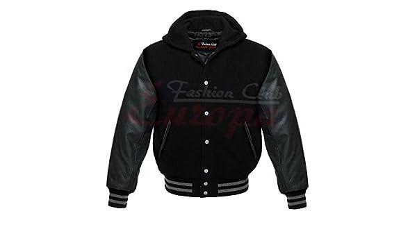 Pour homme Varsity manches en cuir véritable laine Letterman Veste W capuche  All Black New Regular)  Amazon.fr  Auto et Moto 8a55484fb65b