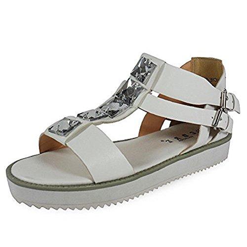 Loudlook Nouveau Dames Des Femmes En Faux Cuir Flip Flops Retro Summer Beach Sandales Taille 3-8 white