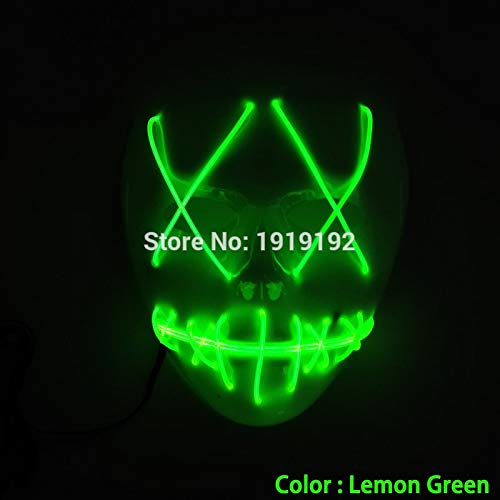 HITSAN INCORPORATION EL Wire Halloween Slit Mouth Mask Neon LED Light Up Mask Flashing Carnival Masks with Sound Activated for Halloween Festival