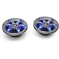 auna CS-LED65 • 3-Wege-Koaxial-Boxen • Auto Lautsprecher • Car HiFi Set • Einbau-Lautsprecher Paar • 800 W max. Leistung • 2 x 16,5 cm-Boxen • Neodymium-Tweeter • ASV-Schwingspule • blaue LED • Schalldruck: 92 dB • Frequenzgang: 70 Hz bis 20 kHz • silber