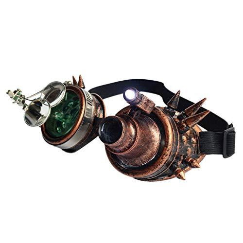 VRTUR Rivet Steampunk Winddicht Spiegel Weinlese-gotische Objektive Goggles Glasses Steampunk, Schweißer Brille, Party Accessoire, Kostüm, Karneval (One size,D)