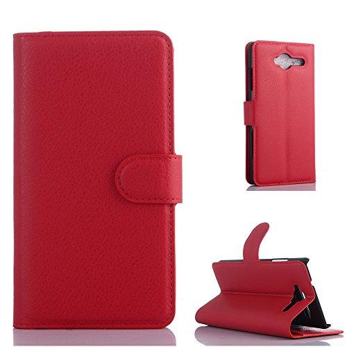 ZTE Blade L3 Handyhülle Book Case ZTE Blade L3 Hülle Klapphülle Tasche im Retro Wallet Design mit Praktischer Aufstellfunktion - Etui Rot