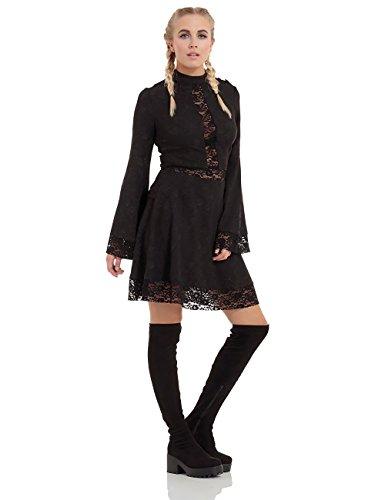 Jawbreaker - Robe - Uni - Manches Longues - Femme Noir