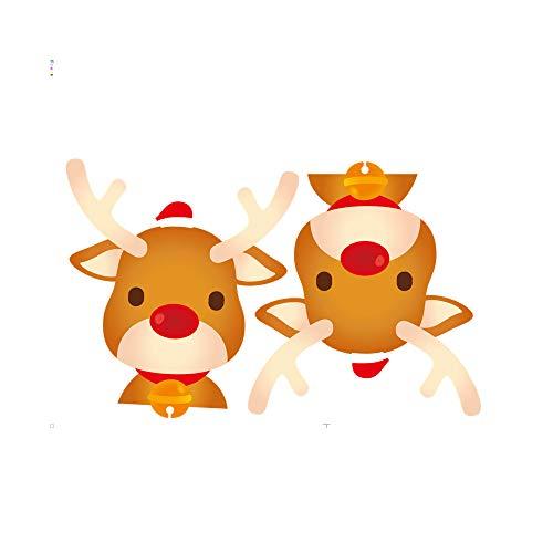 HROIJSL 2019 Frohe Weihnachten Haushaltszimmer Wandaufkleber Wanddekor Aufkleber Abnehmbare Doppelseitig Cartoon Rentier Tür Aufkleber Weihnachten Glaswandaufkleber Hintergrund Dekoration