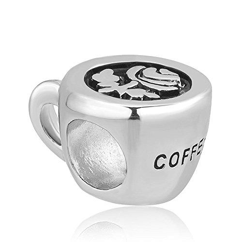 Uniqueen Charm-Anhänger in Form einer Kaffeetasse, passend für Armbänder von Pandora, Troll,...