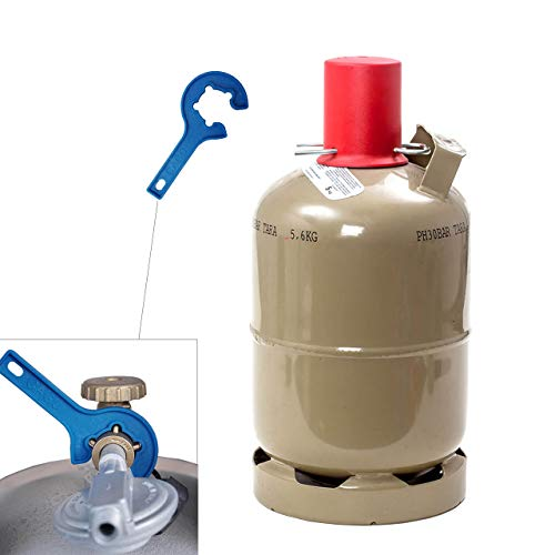CAGO 5 kg Propan-Gas-Flasche Camping Grill Gasflasche Neu leer INKL Gasregler-Schlüssel