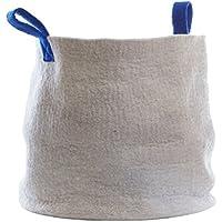 Preisvergleich für Aveva Design Spielzeugkorb Aufbewahrungskorb aus Filz (100% natürliche Wolle) in Hellgrau, mit Tragegriffen in blau | Durchmesser: 48 cm; Höhe: 38cm; Handarbeit