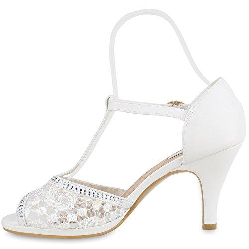 Damen Lack Sandaletten   Stiletto Sandalen Glitzer   Strass Schuhe Party Sommer   Riemchensandaletten Metallic T-Strap Weiss Spitze