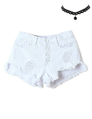 M-Queen Damen Hot Shorts Denim Sommer Vintage Hohe Taille Loch Süßigkeit Farben Nachtclub Kostüme Pants Kurze Hose Weiß
