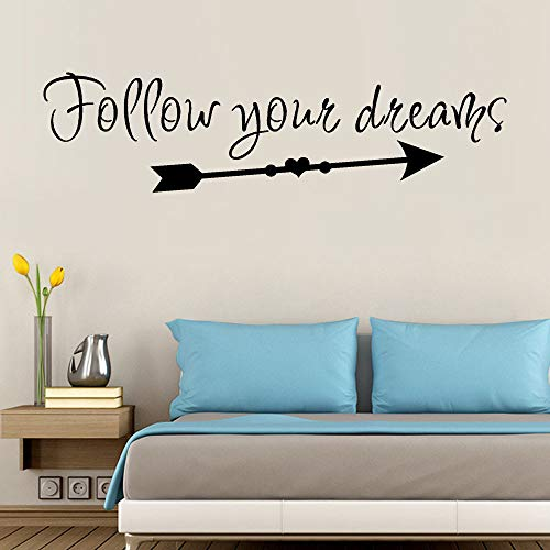 vovo Vovotrade Clearance / wandtattoos / Follow Your Dreams Print Abnehmbare Art Vinyl Wandbild Home Room Decor Wandaufkleber tapeten (Schwarz)